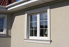 9. Na zdjęciu widzimy następujące elementy: Listwa wokół okna - LE1, Gzyms elewacyjny pod parapetem GE4A, Listwa pod podbitką LE21