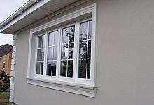 2. Na powyższym zdjęciu zostały użyte następujące elementy:  Listwa wokół okna: Listwa elewacyjna LE1, Gzyms pod parapetem: Gzyms elewacyjny GE4A, Bonia narożna: Bonia elewacyjna BE4, Bonia elewacyjna BE4A